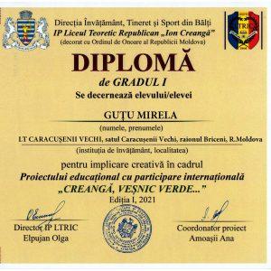 """Implicare în cadrul Proiectului educațional cu participare internațională ,,CREANGĂ, VEȘNIC VERDE"""""""